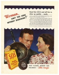 S.O.S Woman can't you cook without scorching ad