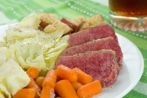 St Patricks Day Dinner Corn Beef and Cabbage